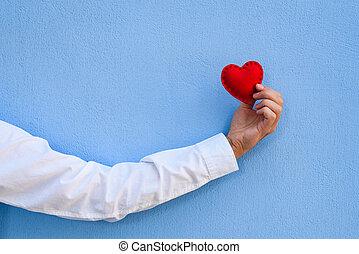 błękitny, karta, dzień, tło, valentine