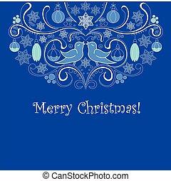 błękitny, kartka na boże narodzenie