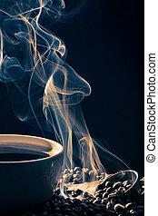 błękitny, kawa, dym, filiżanka