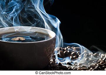 błękitny, kawa, dym, upieczony