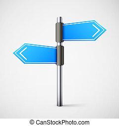 błękitny, kierunek, droga znaczą