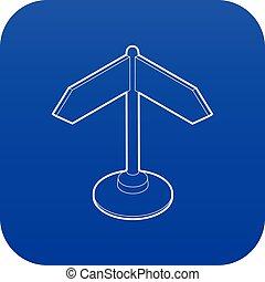 błękitny, kierunek, wektor, znak, ikona
