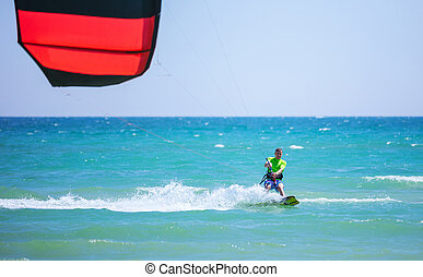 błękitny, kitesurfing, młody, morze, człowiek