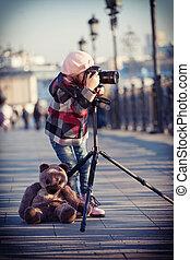 błękitny, klatkowy, marynarka, aparat fotograficzny, stać, ...