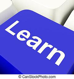 błękitny, klucz, pokaz, uczyć się, komputer, nauka, internet, wykształcenie