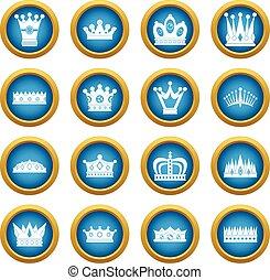 błękitny, koło, komplet, korona, ikony