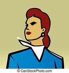 błękitny, kobieta, hope., pracujący, czupurny, strój