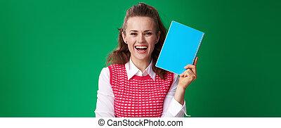 błękitny, kobieta, pokaz, odizolowany, notatnik, zielony, student, szczęśliwy