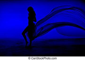 błękitny, kobieta, sylwetka, trzepotliwy, piękno, materiał, ...