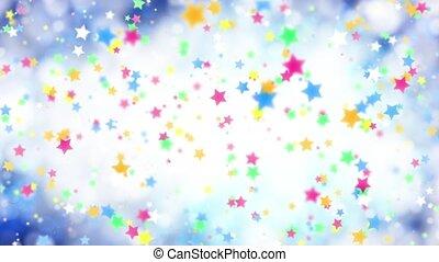błękitny, kolor, padające gwiazdy, tło