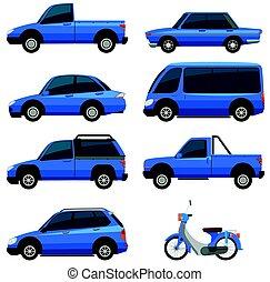 błękitny, kolor, różny, transportations, typy