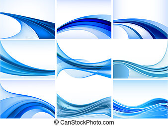 błękitny, komplet, abstrakcyjny, wektor, tło