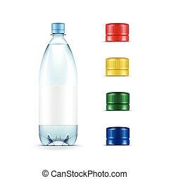 błękitny, komplet, butelka, odizolowany, żółty, plastyk, woda, wektor, zielone tło, czysty, biały, czapki, wielobarwny, czerwony