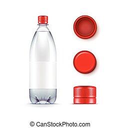 błękitny, komplet, butelka, odizolowany, plastyk, woda, wektor, tło, czysty, biały, czapki, czerwony