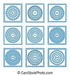 błękitny, komplet, frames., decoration., color., tradycyjny, grek, wektor, grecja, starożytny, brzegi, meandry