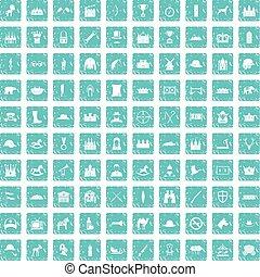 błękitny, komplet, grunge, ikony, 100, jazda konna
