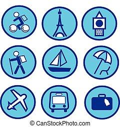 błękitny, komplet, podróżowanie, -2, turystyka, ikona