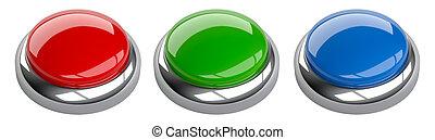 błękitny, komplet, przestrzeń, guzik, zielony, czysty, copy-shot., czerwony