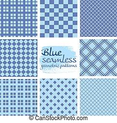 błękitny, komplet, seamless, wzory, skwer, geometryczny