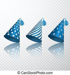 błękitny, komplet, set., korona, odizolowany, ilustracja, papier, urodziny, wektor, stożek, tło, hat., przeźroczysty