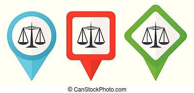 błękitny, komplet, tło, barwny, sprawiedliwość, wskazówki, odizolowany, icons., edit., wektor, zielony, rozmieszczenie, odpoczynek, biały czerwony, markiery