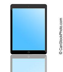 błękitny, komputer, screen., tabliczka, czysty