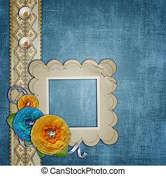 błękitny, koronka, bukiet, rocznik wina, kwiaty, papier,...