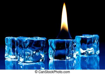 błękitny, kostki, płomień, lód, płonący