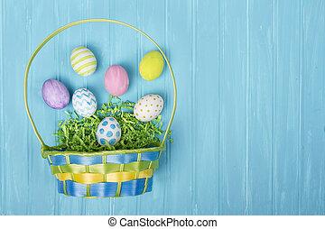 błękitny, kosz, jaja, wielkanoc, tło