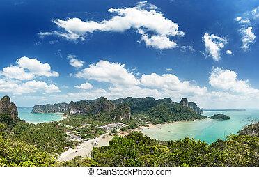 błękitny, krajobraz., tło, natura, niebo, podróż, piasek, łódka, ocean polewają, morze, tajlandia, jasny