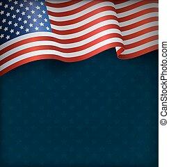 błękitny, krajowy, falisty, bandera, usa