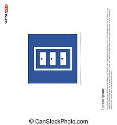 błękitny, kredens, zdejmować budowę, -, ikona
