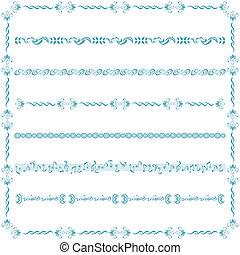 błękitny, kreska, komplet, elementy