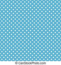 błękitny, kropka, polka, seamless, tło