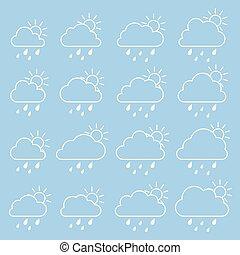 błękitny, krople deszczu, chmura, słońce, tło