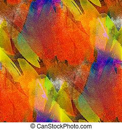 błękitny, krosty, seamless, żółty, akwarela, jasny, brushstrokes, pomarańcza, malarstwo, czerwony