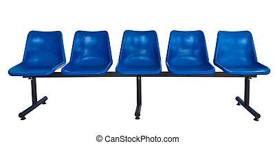błękitny, krzesła, biały, odizolowany, plastyk