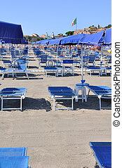 błękitny, krzesła, plaża