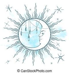 błękitny księżyc, rosnący, moonstones