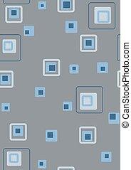 błękitny, kwadraty, retro