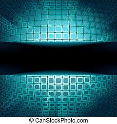 błękitny, kwadraty, technologia, migotać