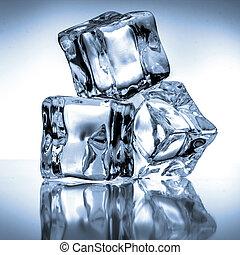 błękitny lód, tło, kostki
