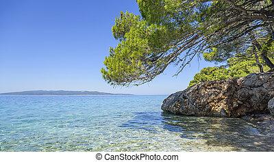 błękitny, lagoon., adriatycki, sea., brzeg