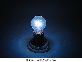 błękitny, lampa, oświetlenie, w, niejaki, ciemny pokój