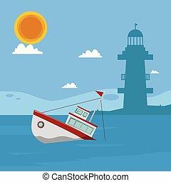 błękitny, latarnia morska, morze, słońce, wizerunek, wektor, łódka, tło, chmura