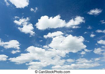 błękitny, lato, biały zasępia, niebo