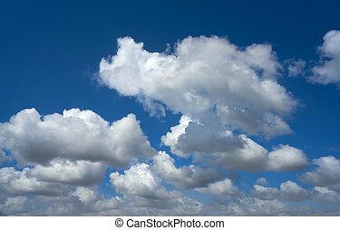 błękitny, lato, chmury, niebo, cumulus, biały