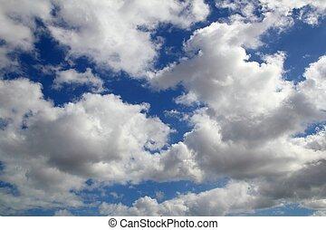 błękitny, lato, chmury, niebo, doskonały, biały