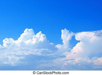 błękitny, lato, chmury, niebo