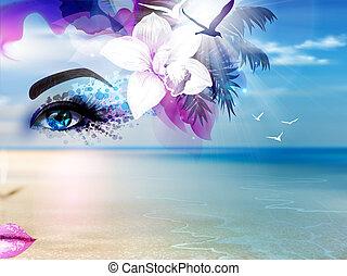 błękitny, lato, kobieta, niebo, collage, abstrakcyjny, światło słoneczne, twarz, plaża., morze